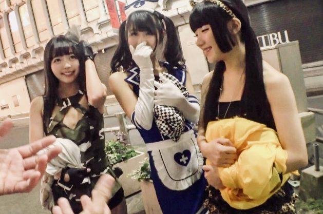 素人ナンパ:顔面ザーメンパックでエロ仮装もグレードアップ!?初めて味わうデカチンの感触に息絶え絶えのコスプレ美少女ナンパ姦w